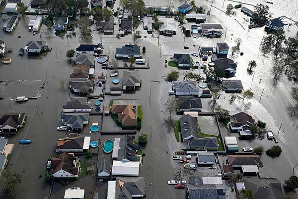 Homes are flooded in the aftermath of Hurricane Ida in Jean Lafitte