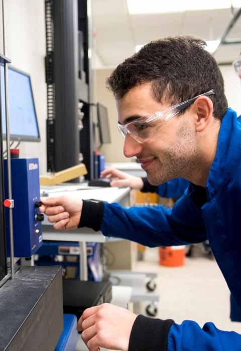 student in environmental engineering lab