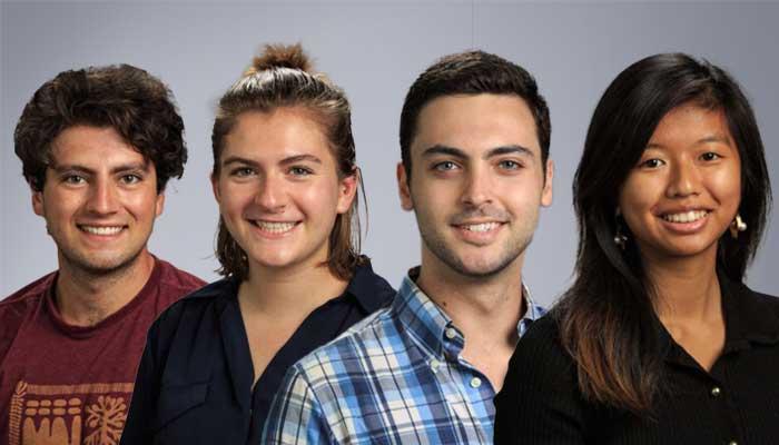 Rodrigo Blanco Bravo, BioE'22, Hannah Boyce, ChE'22, Lake Jacobs-Skolik, EE'22, and Carrie Tam, CEE'22.